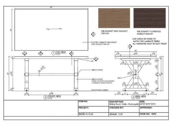Dining Room Table- Rectangular Drawing