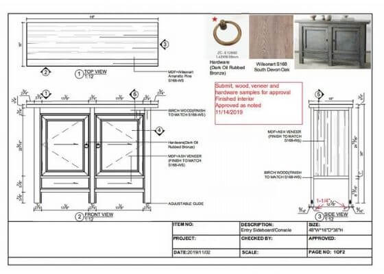 Entry Sideboard Console Drawing
