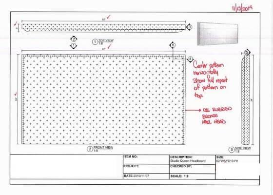 Studio Queen Headboard Drawing